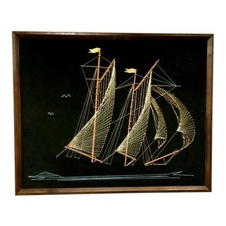 1970s Vintage Framed Sailing Ship String Art For Sale