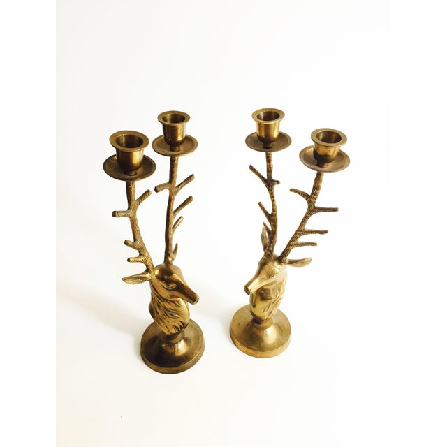 Large Vintage Brass Deer Candle Holders For Sale - Image 4 of 4