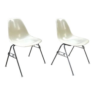 Pair of Early 1957 Dated Eames Parchment Side Fiberglass Shell Chairs Stacking Base Original MCM