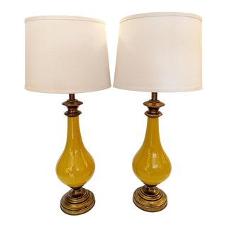 Yellow Glazed Ceramic Table Lamps, Mid-Century - Pair For Sale