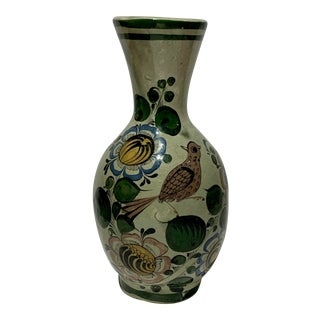 Vintage Hand Painted Olives Birds Mexican Pottery Vase For Sale