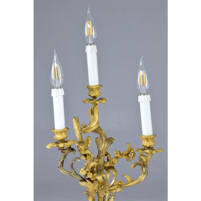 Mid 19th Century French Pair of Antique Louis VXI Ormolu Electrified Candelabras For Sale - Image 5 of 13