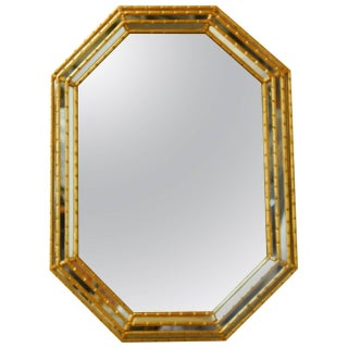 Mid-Century Labarge Octagonal Faux Bamboo Mirror