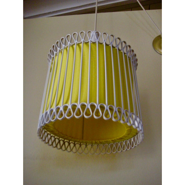 1970s Mid-Century Modern White and Yellow Iron Chandelier For Sale - Image 5 of 11