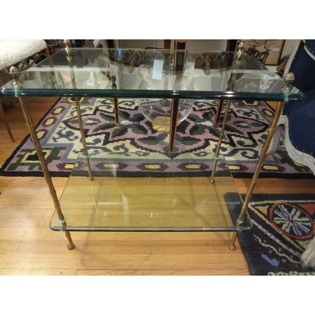 Hollywood Regency Italian Bronze and Glass Two Tiered Table For Sale - Image 3 of 12