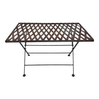 Vintage French Folding Iron Lattice Side Table For Sale