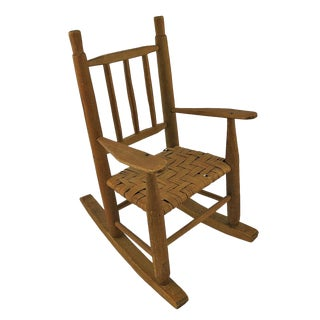 1920s Vintage Wooden Doll's Rocking Chair For Sale