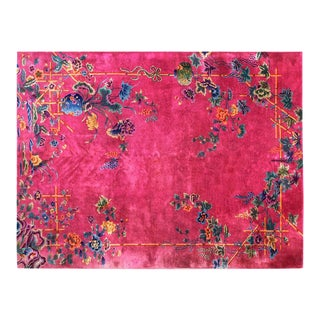 1920s Chinese Art Hot Pink Deco Rug - 8′8″ × 11′