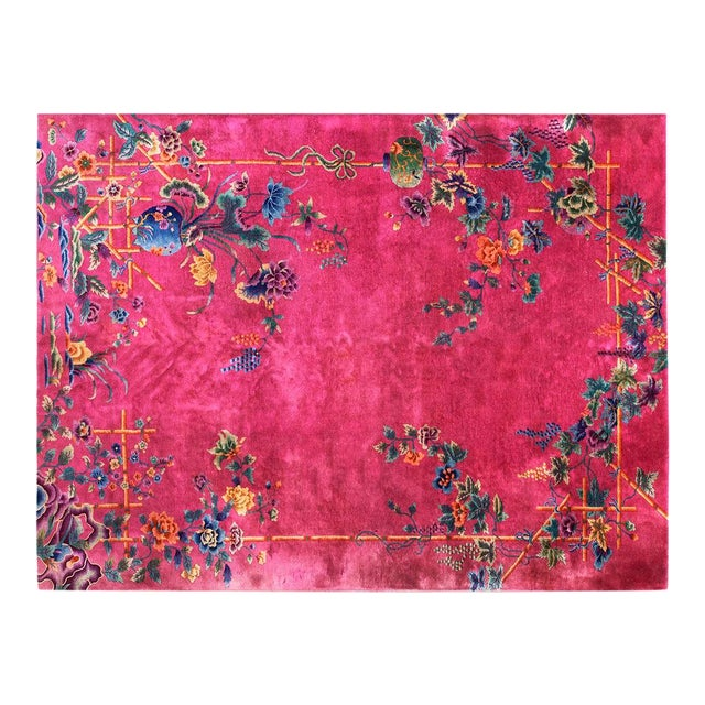 1920s Chinese Art Hot Pink Deco Rug - 8′8″ × 11′ For Sale