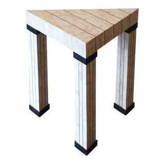 Travertine Inlaid Brass and Marble Triangular Postmodern Side Table For Sale