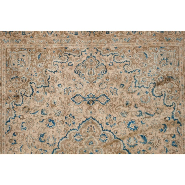 Persian Cream & Blue Rug - 9′8″ × 12′6″ For Sale In Seattle - Image 6 of 10