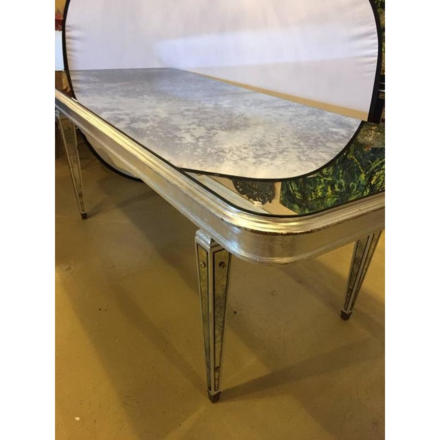 Antique Mirrored Hollywood Regency Decorative Dining Room Table For Sale - Image 9 of 10
