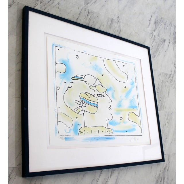Peter Max Mid-Century Modern Framed Print by Peter Max Cosmic Face Signed Numbered For Sale - Image 4 of 8