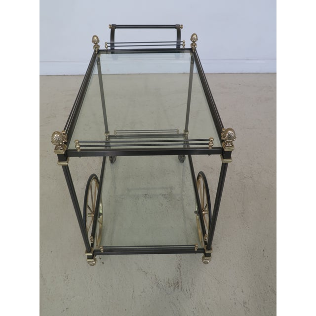 Brass & Steel Regency Style Tea Cart Server Age: Approx: 30 Years Old Details: Quality Construction Solid Brass Accents...