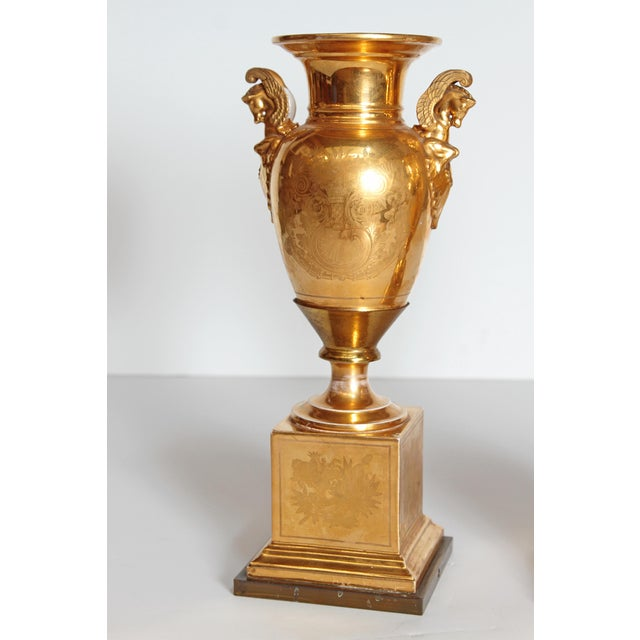 Mid 19th Century 19th Century Pair of French Porcelain Gilt Urns With Scenes For Sale - Image 5 of 13