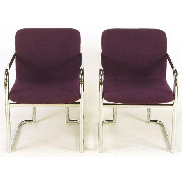 Pair Chrome & Violet Wool Sled Arm Chairs - Image 3 of 9