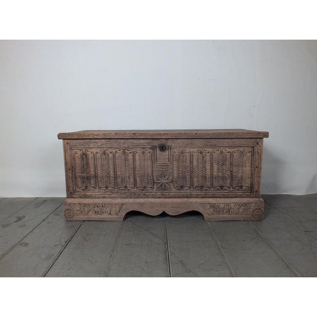 Antique Bleached Wood Blanket Chest - Image 3 of 9