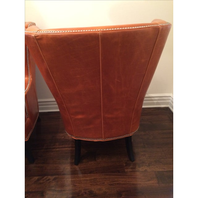 Williams Sonoma Chelsea Leather Wing Chairs - Pair - Image 6 of 6