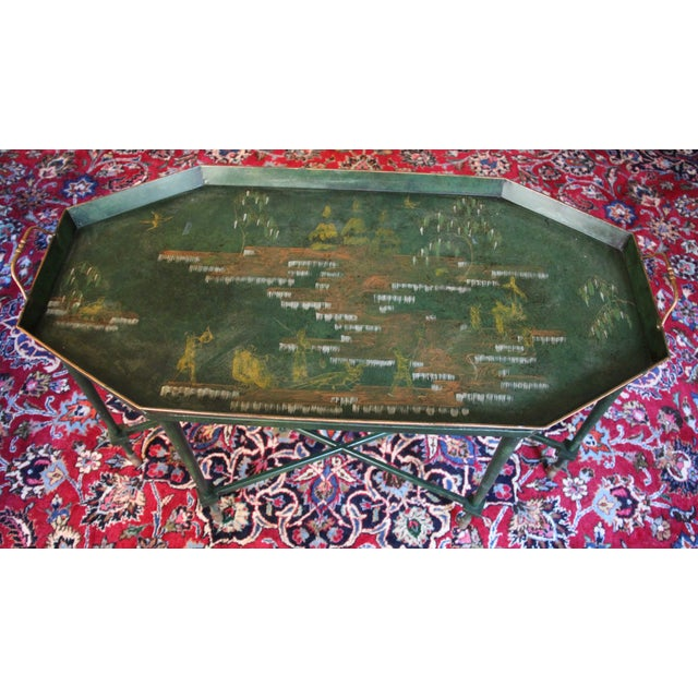 Italian Tole & Green Chinoiserie Coffee Table - Image 3 of 6