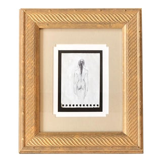 Original Vintage Mid Century Female Nude Ink Study Sketch For Sale