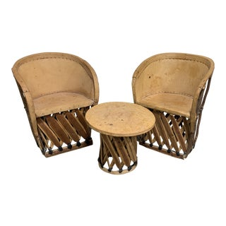 1960s Equipale Chairs and Tabl Set - Set of 3 For Sale