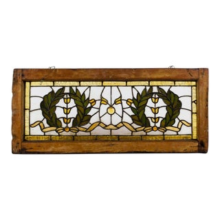 19th C. Vintage Arts and Crafts Style Wreath Motif Stained Glass Window For Sale