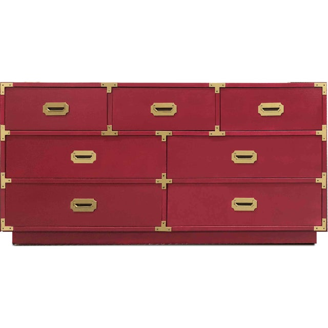 Raspberry Red 1960s Campaign Chest by Bernhardt For Sale - Image 8 of 8