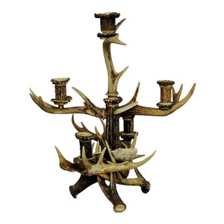 Black Forest Cabin Decor Antler Candelabra, 1900 For Sale