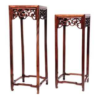 Antique Chinese Rosewood Display Stands - a Pair For Sale