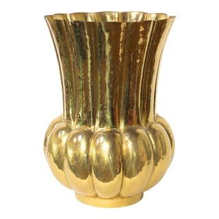 Hollywood Regency Brass Planter or Umbrella Holder, Scalloped & Fluted For Sale