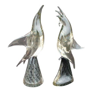 """Marcolin Sweden Large Art Crystal Bird Sculptures """"One of a Kind"""" Signed - a Pair For Sale"""