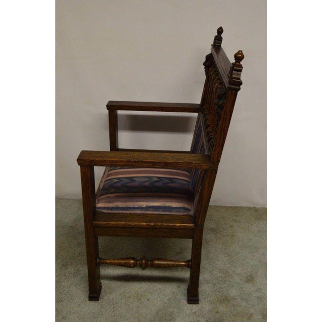 Antique Wind Man Carved Oak Library Armchair - Image 5 of 11