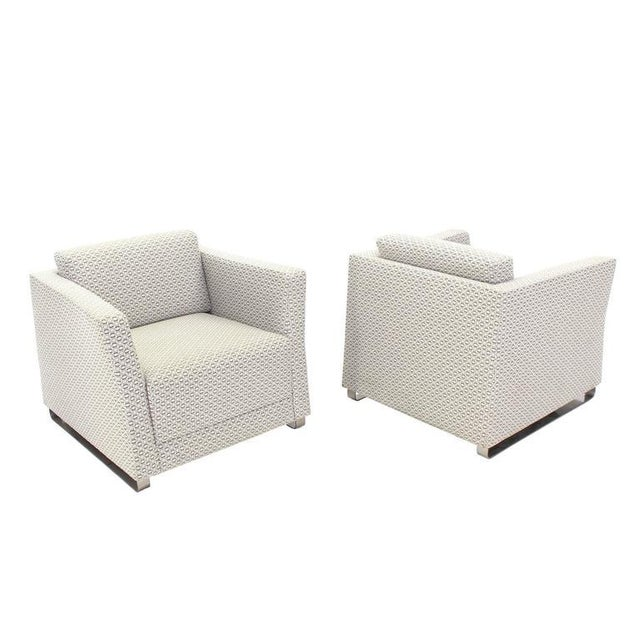 Gray Pair of Bernhardt Upholstered Lounge Chairs For Sale - Image 8 of 9