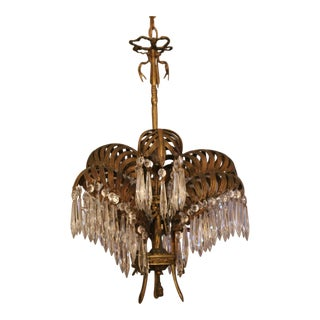French Art Deco/ Hollywood Regency Solid Bronze & Crystal Chandelier- 1920's