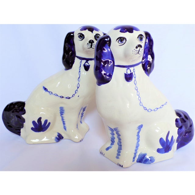 Vintage Blue and White Ceramic Staffordshire Dogs - a Pair For Sale - Image 10 of 11