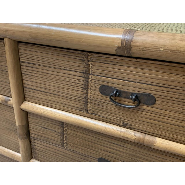 Brown Bamboo and Rattan Double Dresser For Sale - Image 8 of 10
