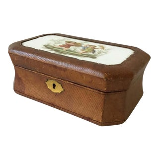 1890s French Leather Box with Ceramic Plaque of Children For Sale