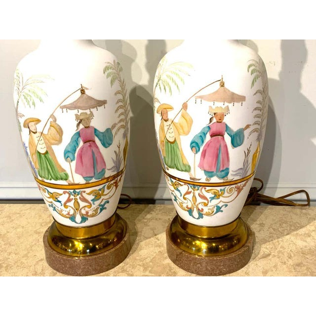 English Chinoiserie Bristol Opaline Glass Vases, Now as Lamps - a Pair For Sale In Atlanta - Image 6 of 9