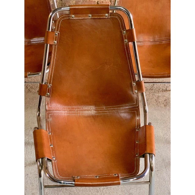 Les Arcs Dining Chairs Leather, 1960s - Set of 6 For Sale - Image 6 of 13