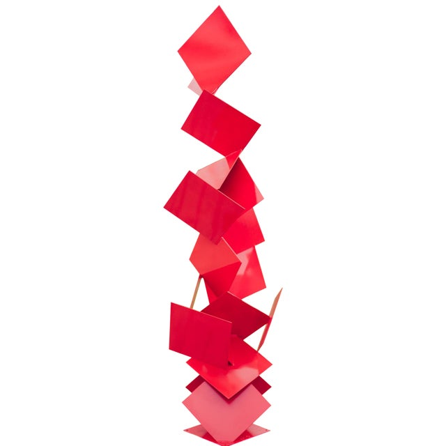 """Modern Abstract Balanced Gravity """"Sotto"""" Red Steel Sculpture For Sale"""