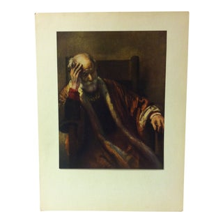 "Mounted Color Print on Paper, ""An Old Man in Thought"" - Circa 1950 For Sale"