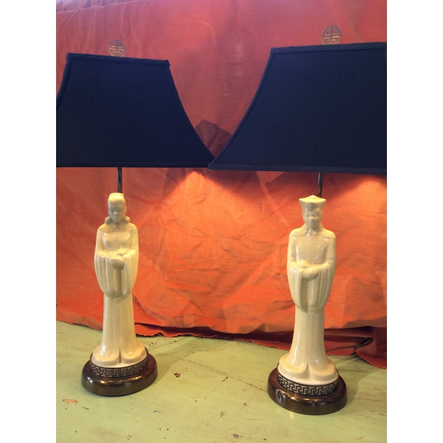 Vintage 1940s Asian Porcelain Figure Lamps With Silk Pagoda Style Shades - a Pair For Sale - Image 10 of 12