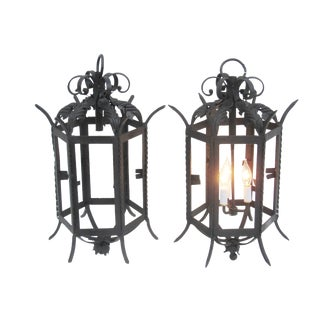 Antique French Wrought Iron Lanterns - A Pair