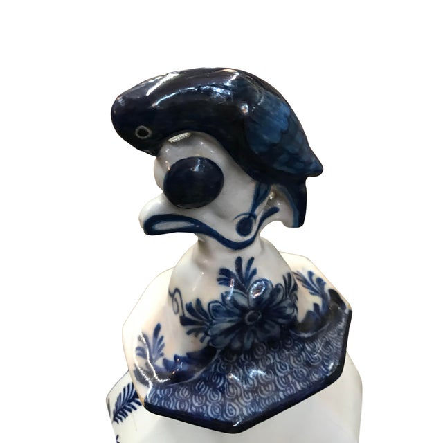 18th Century Delft Vase With Bird Finial For Sale - Image 4 of 6