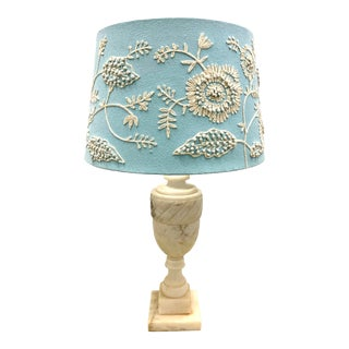 1960s Vintage Carved Alabaster Lamp With Blue Embroidered Shade For Sale