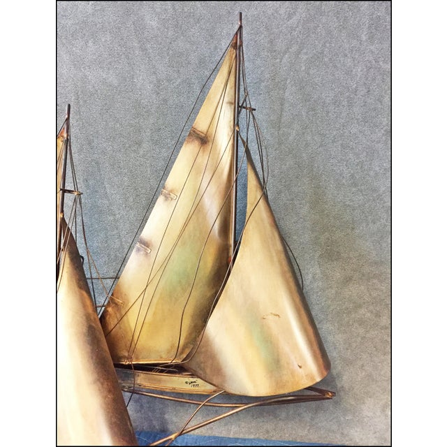 Mid Century Modern Gold Curtis Jere Signed Sailboat Wall Art | Chairish