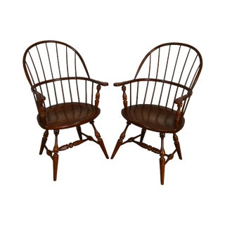 Fredrick Duckloe Solid Cherry Pair Hoop Back Windsor Armchairs For Sale