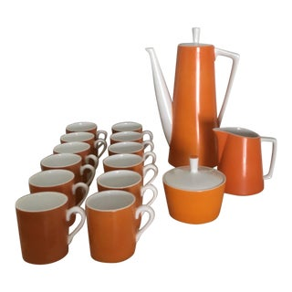 1950s Vintage Mid-Century Modern Orange and White 17 Pc Espresso Set For Sale