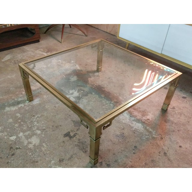 Brass Vintage 1970's Brass Greek Key Coffee Table by Mastercraft For Sale - Image 7 of 7