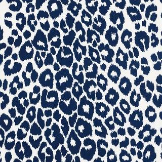 Schumacher Iconic Leopard Indoor/Outdoor Fabric in Navy For Sale
